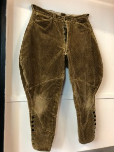 "Donated by a local, an original vintage pair of corduroy breeches made in ""Trouser Town"". Rumour has it this may be the next HebTroCo model. Fingers crossed."