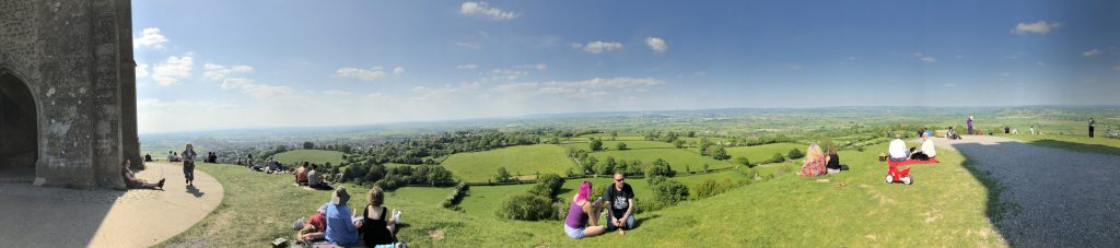Panoramic photo of the view from Glastonbury Tor.
