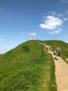 Walking down from Glastonbry Tor.