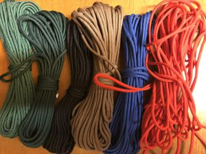 A small selection of paracord in various colours.