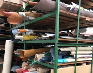 A partial view of the leather storage. Custom orders require a large range of hides to be available.