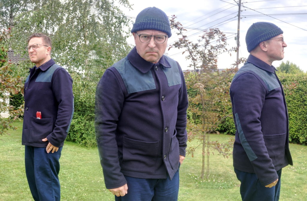 The brothers showing three ways to style the Gloverall Collins donkey jacket.