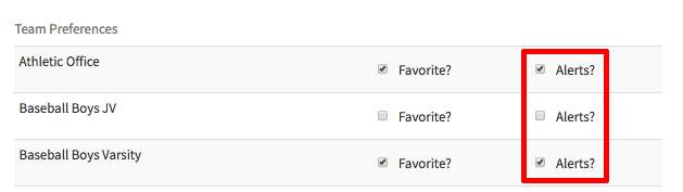 BigTeams Favorites Alerts