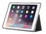 iPad in a protective case standing on its side