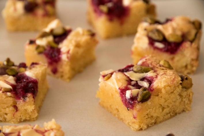 White Chocolate Raspberry + Pistachio Blondie Squares