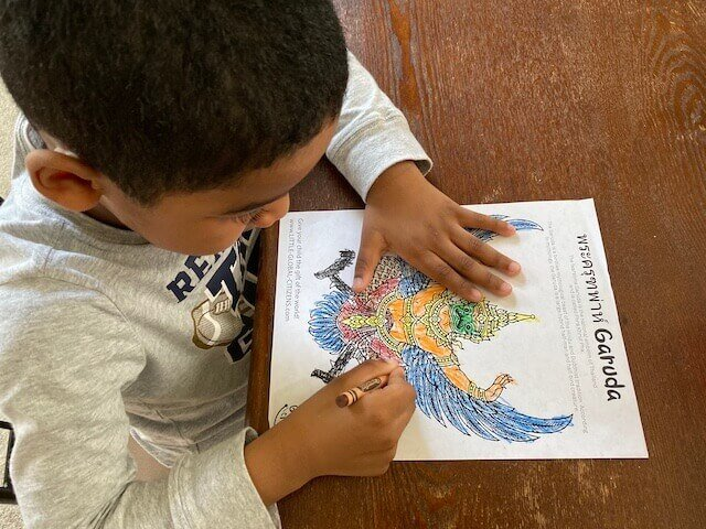 Garuda coloring page - Thailand with Little Global Citizens