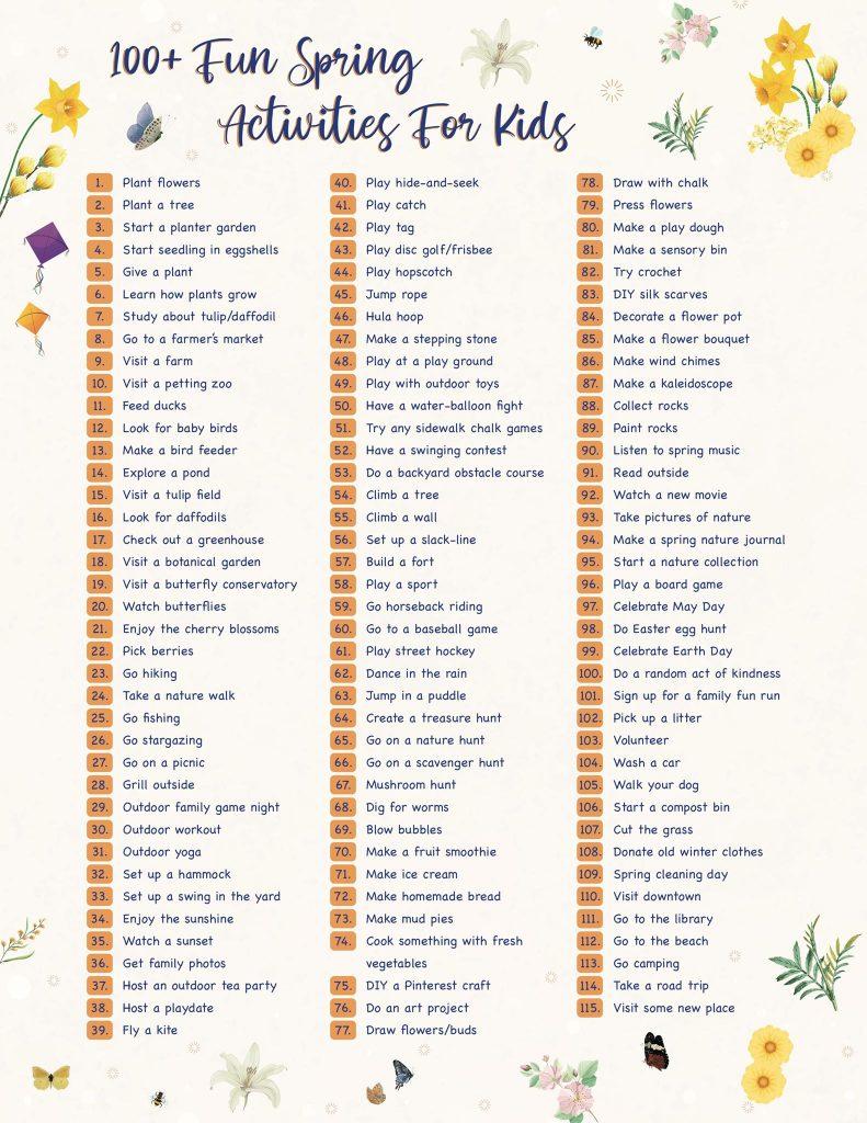 100+ Fun Spring Activities For Kids - Wellington World Travels