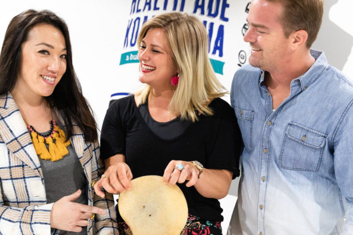 Daina Trout, co-founder and CEO of Health-Ade Kombucha, center, with co-founders Vanessa Dew and Justin Trout.