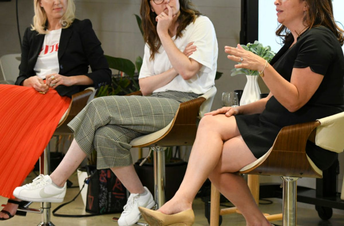 Amy Nelson (right), CEO and founder of The Riveter, speaking at LA event Wildfang x The Riveter.