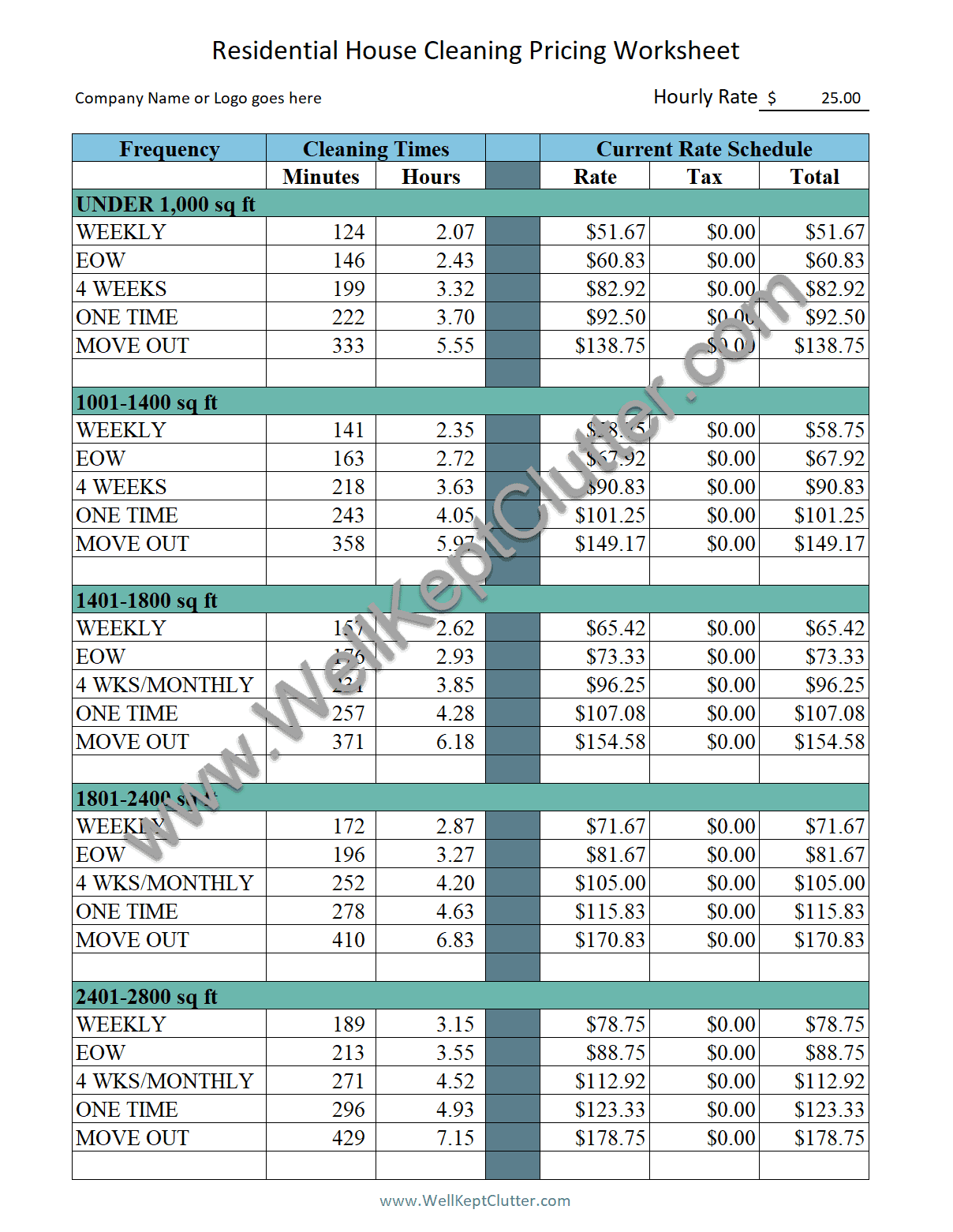 Price Worksheet Picture