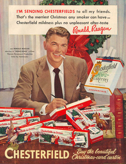 Ronald Reagan selling Chesterfields during Christmas