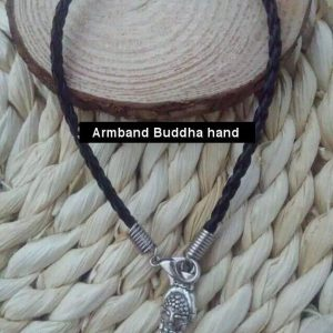 Gevlochten veter armband Buddha Hand Zwart
