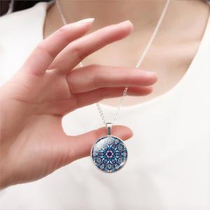 Verzilverde ketting Mandala Blue