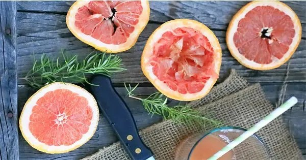 blog picture of grapefruit and rosemary on table