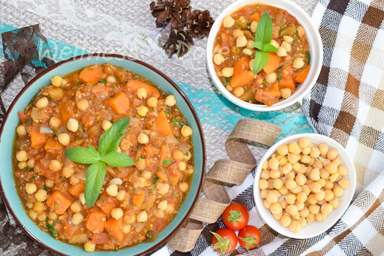Chickpea stew with eggplant and sweet potato WellnessDove