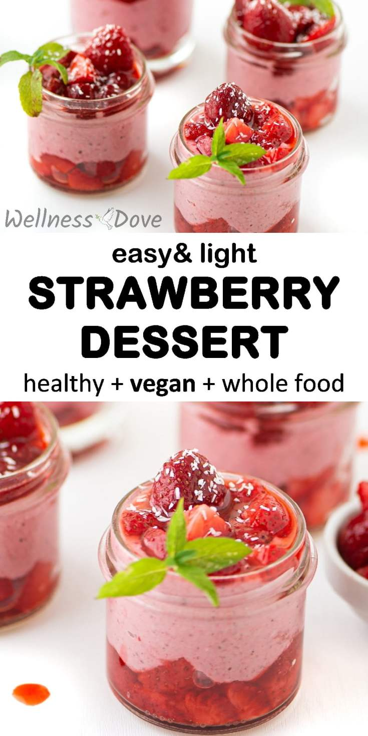 Superb recipe for a Light & Easy Strawberry Dessert! It is made with plant-based ingredients and is free of oil, yet super tasty. Creamy raw cashews, chia seeds, coconut flakes, lemon juice, oats all mixed with the most aromatic and flavorful fruit strawberries.