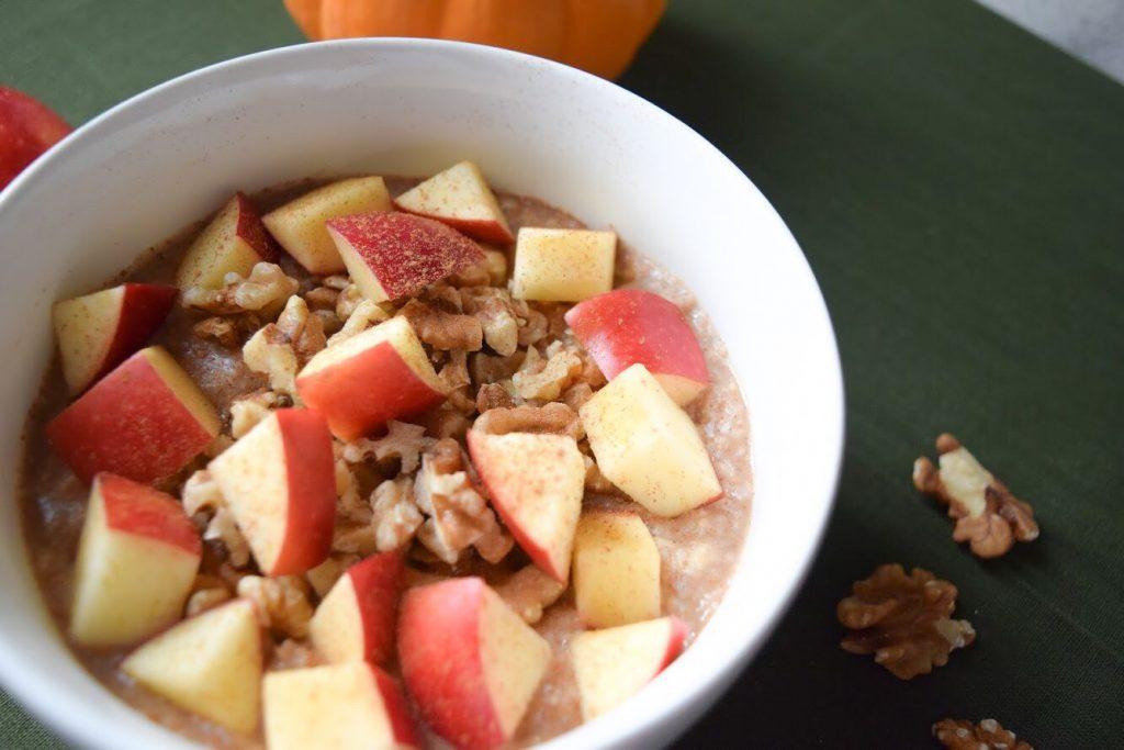 maple apple & walnut oatmeal closeup, pumpkin