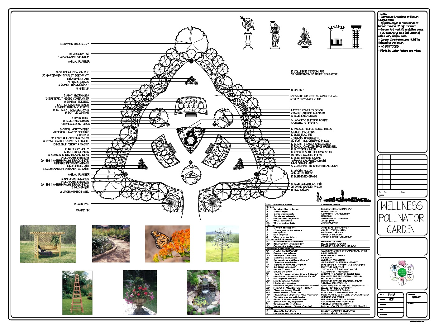 An architectural drawing of a wellness garden