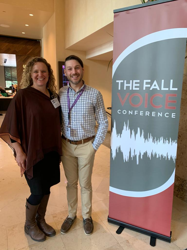 Aaron Ziegler and Jennifer Gill at Voice Disorder and Swallowing Disorder Research Conferences.