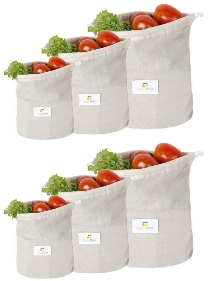 Reusable Muslin Fridge Storage Cotton Bag keeps fruits and vegetables fresh longer.