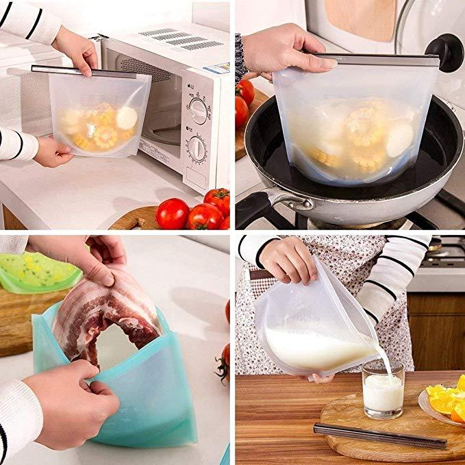Reusable Silicone Food Storage Bag for Fruits, Vegetables, Meat.