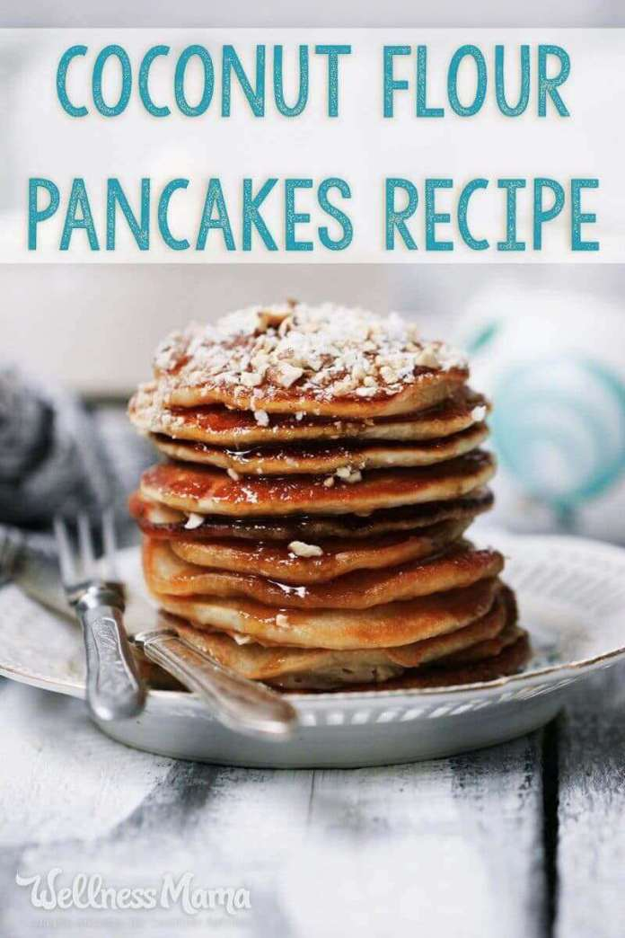 This coconut flour pancakes recipe is made with coconut flour and eggs for a healthy and filling breakfast that is grain free.