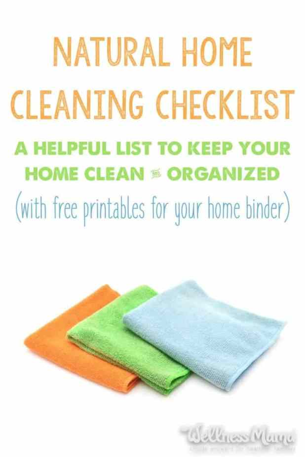 Home cleaning checklist of natural ways to clean your house with natural ingredients like vinegar, baking soda, washing soda, borax and soap.