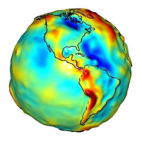 GRACE's plot of gravity over the Americas (Image: GRACE/NASA)