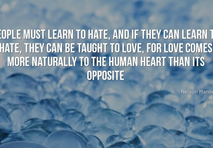 People must learn to hate
