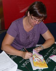 Julie signing books for her hordes of fans
