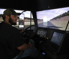 Jay testing out the driving simulator