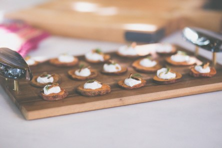 Sweet Potato Rounds with Yogurt Dill Sauce and Almond Crunch
