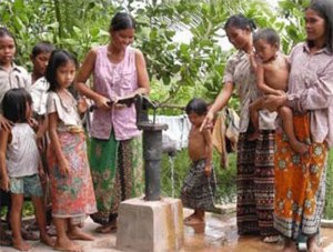 Villagers trying out their new freshwater well