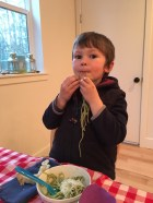 Annual nettle pesto feast - kid approved!