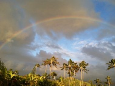 Sunrise Rainbow in Kailua, Oahu, JHD