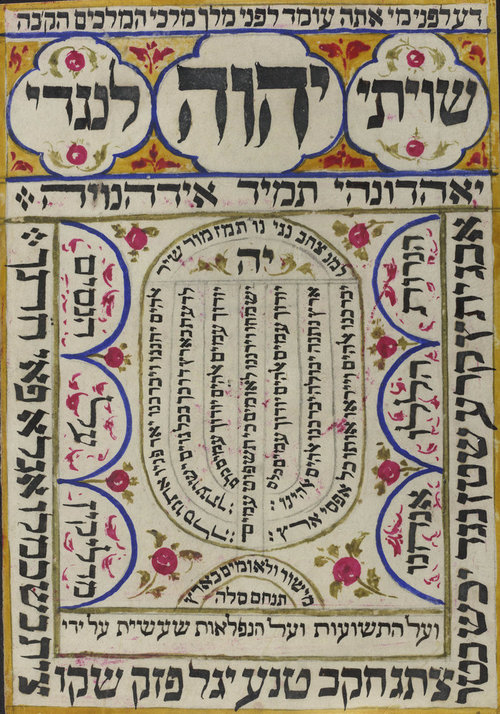 Shiviti - traditional Jewish artwork with names of God