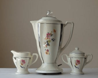 Image of Fancy Coffee Pot, Sugar Cup and Creamer