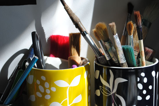 Paintbrushes at Well Street Studio