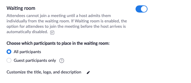 zoom privacy - waiting room