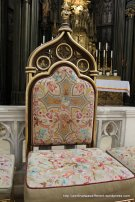 Fancy embroidered chair for the priest