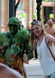 Some tourists asked for photos with the parade walkers.