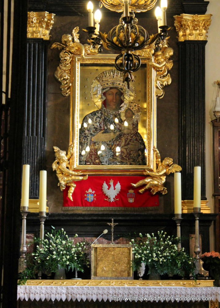 This Madonna by the entrance seems to be important--every Pole who entered the church did a little bow to her and crossed themselves, and there were several people praying in front of it. But I couldn't find anything in English online about it.