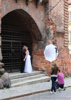 Wedding photo near the gate.