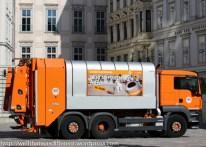 City trash truck on Judenplatz.
