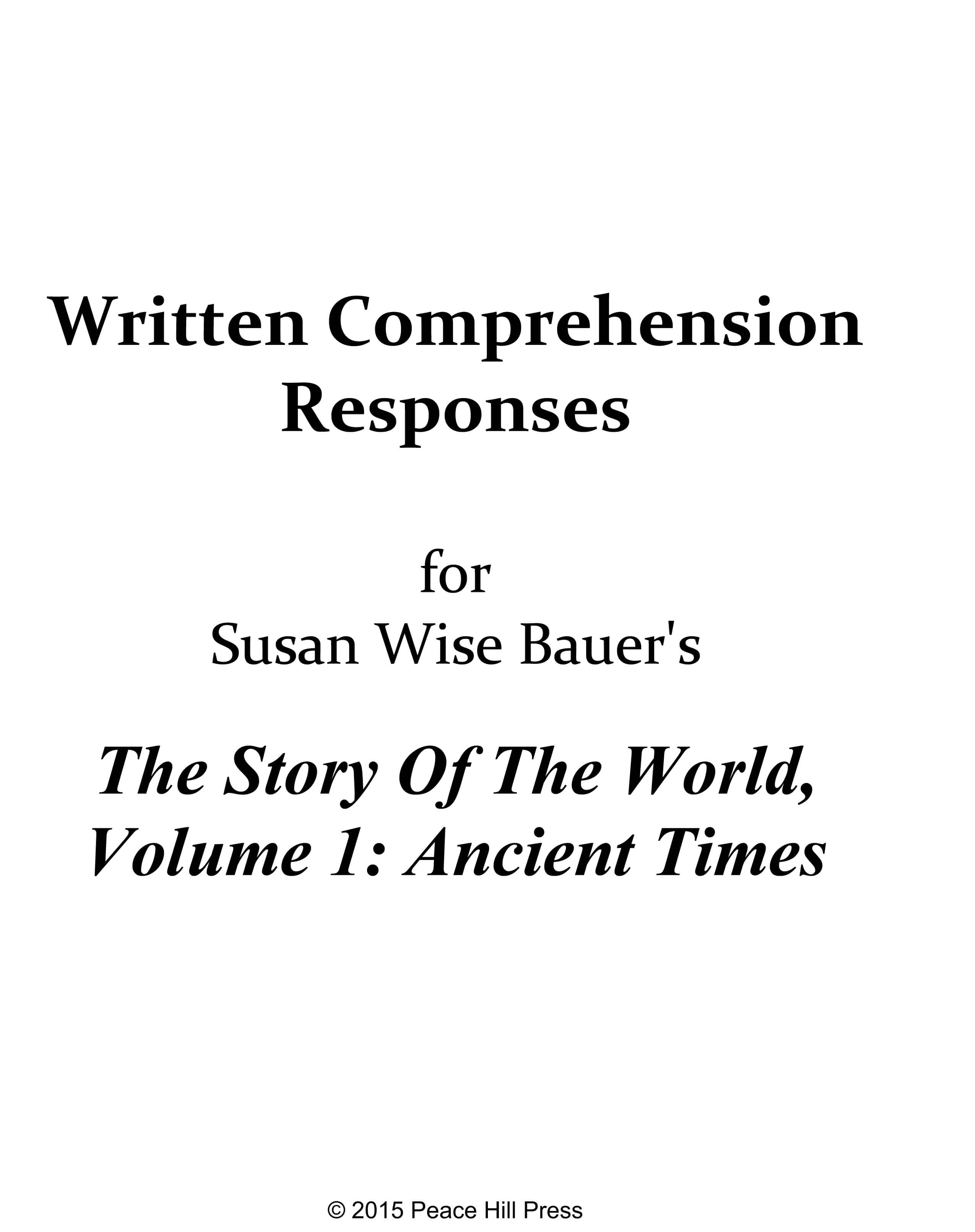 Downloadable Written Comprehension Responses Volume 1