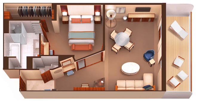 Seabourn Encore Owner's Suite layout.