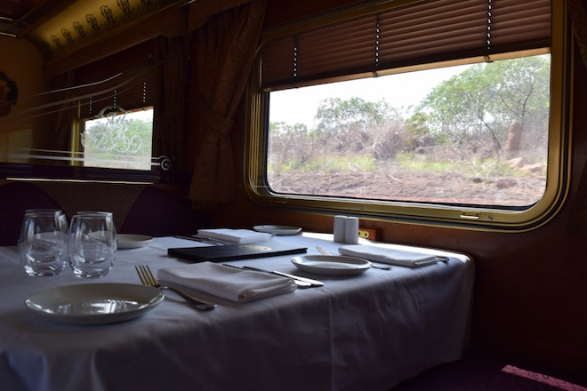 Dining onboard The Ghan in Queen Adelaide Restaurant. Image credit Jason Dutton-Smith.