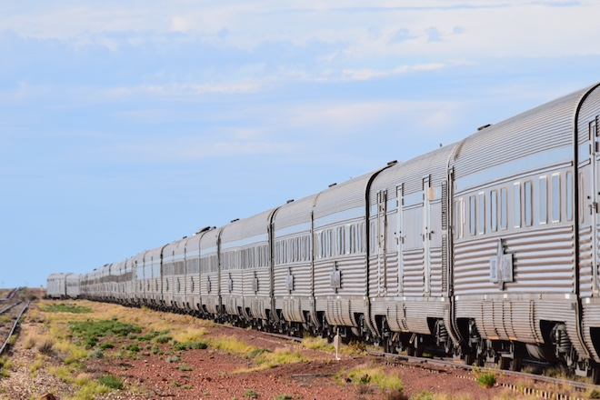 The Ghan in Coober Pedy. Image credit Jason Dutton-Smith
