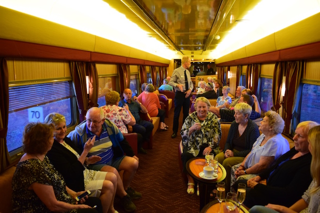 The bar car onboard The Ghan. Image credit Jason Dutton-Smith.