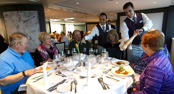 Guest dining on board MS Monarch Empress